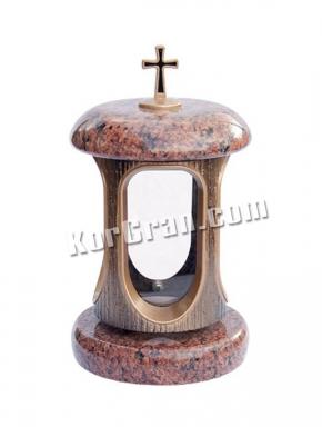 LP-4 - Лампада Лезник (корпус под золото, крышки красные), фото цена подсвечника