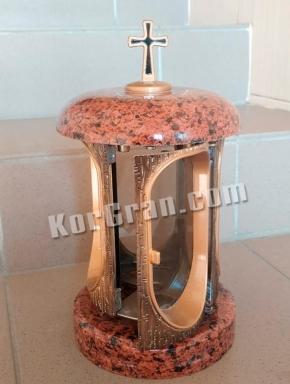 LP-6 - Лампада Гранит Красный (корпус под золото), дверца на магните