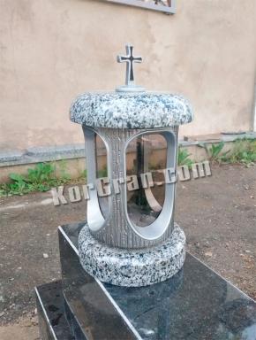 LP-9 - Лампада из гранита Покостовка (корпус под серебро, крышки серые)